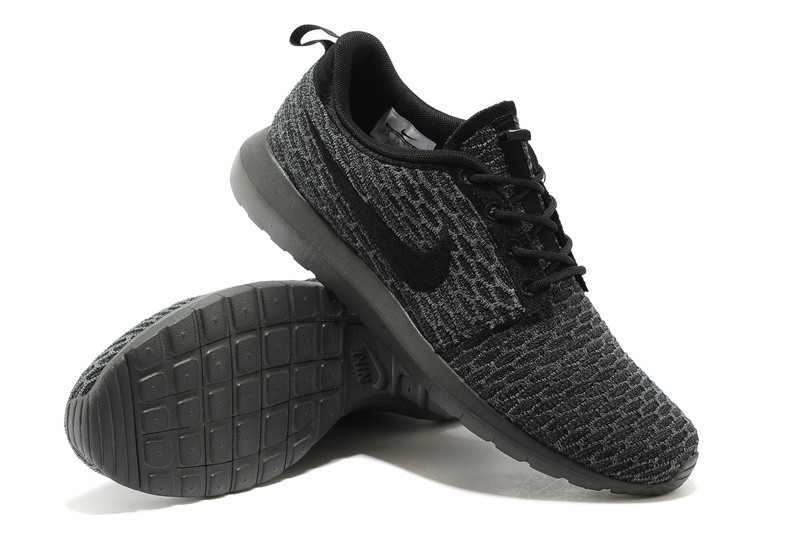 nike flyknit roshe run herren alle schwarz dim grau. Black Bedroom Furniture Sets. Home Design Ideas