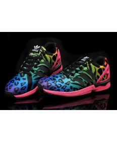 Adidas ZX FLUX Schuh-Leopard-Blau-Grün / Rose
