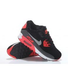 Nike Air Max 90-Pelz-Trainer sneakers schwarz-rot-silber