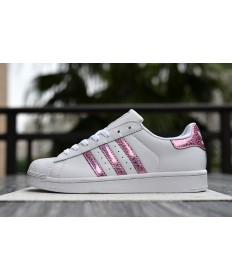 Adidas Superstar 80s Trainer weiß lila rot