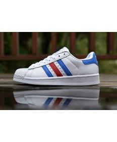 Adidas Superstar 80s schuhe weiß royalblau rot