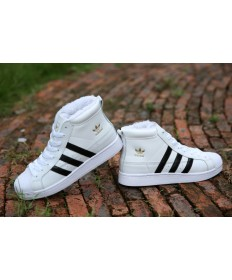 Adidas Superstar Hallo Top-Pelz-Trainer sneakers weiß / schwarz