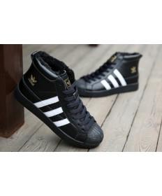 Adidas Superstar Hallo Top-Pelz-sneakers schwarz / weiß