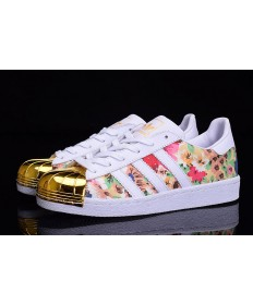 Adidas Superstar 80er Metal Toe weiß / gold / Blumen muster Trainer
