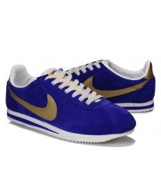 Nike Classic Cortez Suede Vintage-Herren Königs-blau Gold Trainer
