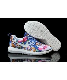 Nike Roshe Run Dodger blau / weiß / Blumen muster der damen sneakers Trainer