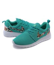 Nike Roshe Run Trainer Lovers Dunkle Cyan / Blumen druck