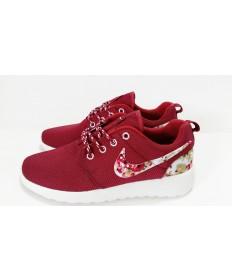 Nike Roshe Run schuhe Maroon / Blumen -Druck für Herren