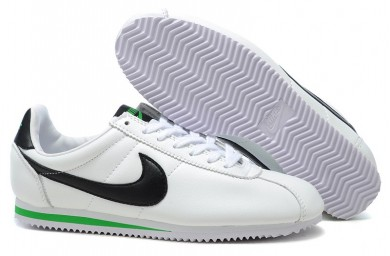Nike Classic Cortez Leder 09 Herren-Weiß-Schwarz-Grün Trainersneakers
