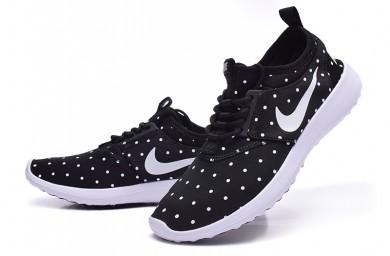 Nike Roshe Run damen Schwarz / Weiß Punkte / Weiße sneakers