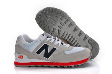 New Balance 574 Grau, Marine + Rot Trainersneakers für damen