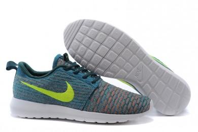 Nike Flyknit Roshe Run schuhe Lovers Dunkle Cyan / Gelb