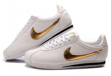 Nike Classic Cortez Leder 09 Herren-Weiß Gold Schwarze schuhe