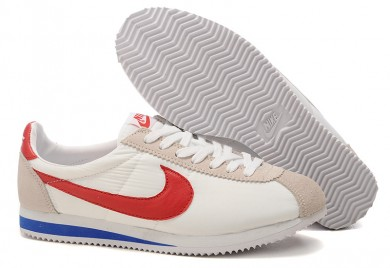 Nike Classic Cortez Nylon Weiß Beige Blau Rot sneakers für damen