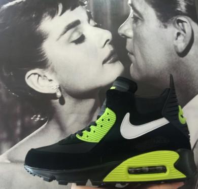 Nike Air Max 90 Hightop schwarz fluoherren sneakers