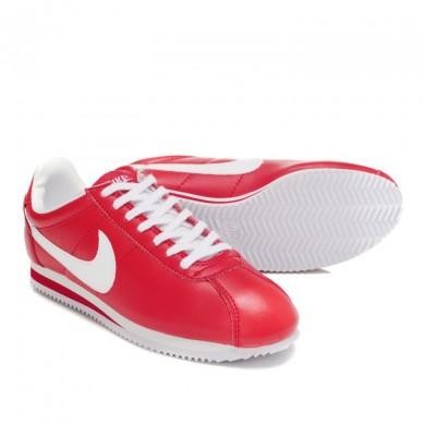 Nike Classic Cortez Leder 09 Trainer schuhe Rot Weiß für damen